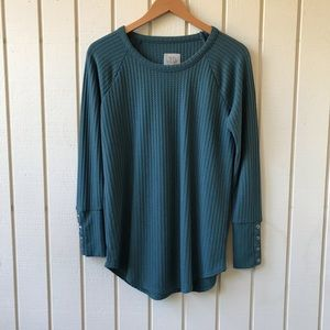 Chaser Waffle Knit Thermal Top with Button Detail